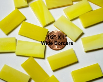 """25 Bright Yellow Mosaic Tile Borders 1/2"""" X 1"""" Cut From Original Spectrum, Stained Glass Tiles are Perfect for Mosaic Art and Craft Projects"""