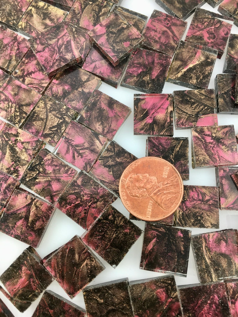 50 1/2 Van Gogh Red Champagne Mosaic Tiles Hand Cut From image 0
