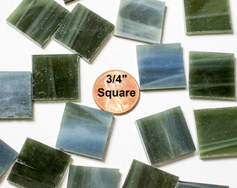 """24 3/4"""" Olive Green Mosaic Tiles Hand Cut From Original Spectrum Stained Glass"""