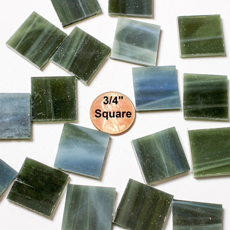 24 3/4 Olive Green Mosaic Tiles Hand Cut From Original image 0