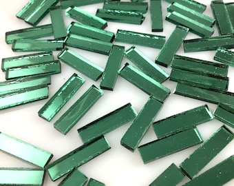 """50 Light Green Mirror Tiles 1/4"""" X 1"""" Original Spectrum Tree Foil Silvercoat Mirrored Stained Glass, Perfect For Mosaic Art & Crafts"""