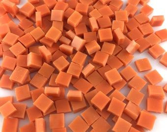 """100 1/4"""" Persimmon Orange Opal Mosaic Tiles, Spectrum Fusible Stained Glass, Perfect For Crafting, Fusing or Mosaic Art"""