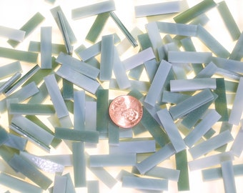 """50 Seafoam Green Mosaic Tile Borders 1/4"""" X 1"""" Hand Cut From Original Spectrum, Stained Glass Tiles are Perfect for Mosaic Art and Crafts!"""