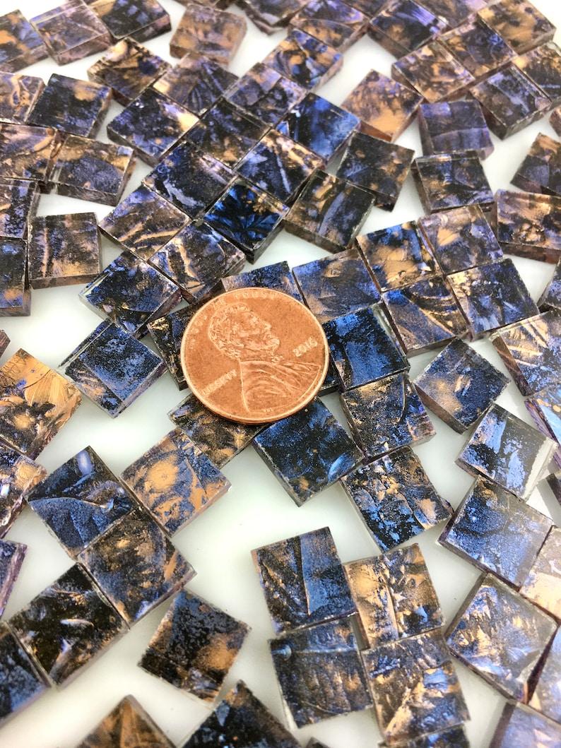 75 3/8 Van Gogh Bronze Blue Mosaic Tile Hand Cut From image 0