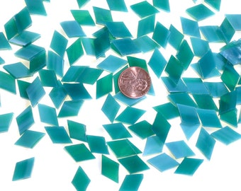 150 Teal Mosaic Tile Tiny Diamonds Hand Cut from Spectrum Stained Glass, Perfect Tile for Mosaic Artists and Crafters