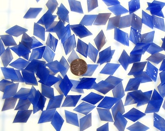 50 Cobalt Rose Mosaic Tile Small Diamonds Hand Cut From Original Spectrum Stained Glass, Perfect for Mosaic Art and Crafts