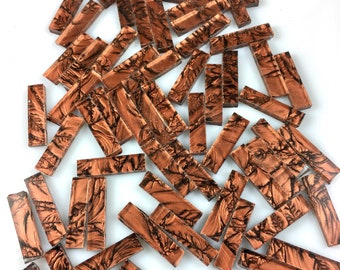 """50 Van Gogh Copper Borders, 1/4"""" X 1"""" Cut From VG800 Van Gogh Glass, Stained Glass Tiles for Mosaic Art and Crafting"""