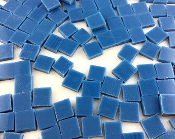 """75 3/8"""" Mariner Blue Mosaic Tiles Hand Cut From Spectrum Fusible Stained Glass, Perfect for Mosaic Art, Craft or Fusing!"""