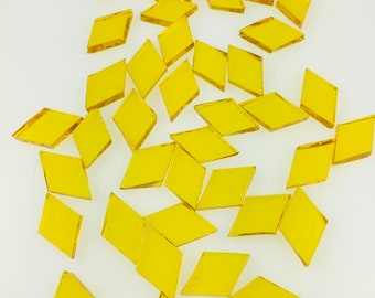 """50 Yellow Tiny Diamonds 7/16"""" X 3/4"""" From Original Spectrum 161w Waterglass, Stained Glass Tiles for Mosaic Art and Craft Projects!"""