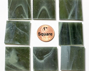 """15 1"""" Olive Green Mosaic Tile, Original Spectrum Stained Glass, Stained Glass Tiles are Perfect for Mosaic Art & Craft Projects"""