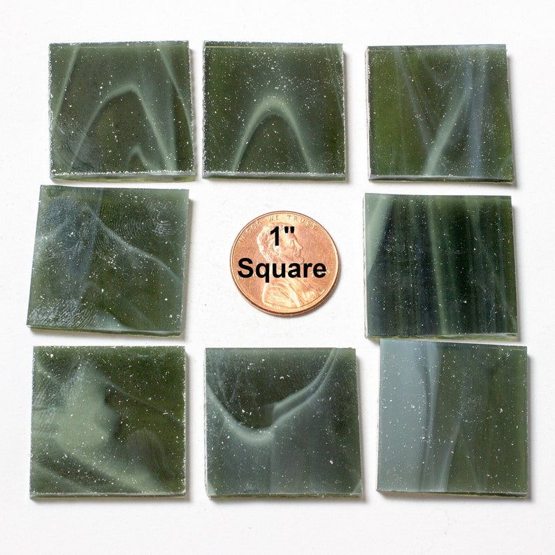 15 1 Olive Green Mosaic Tile Original Spectrum Stained image 0