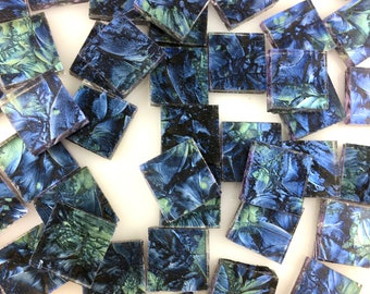 """50 1/2"""" Van Gogh Blue Bluegreen Square Mosaic Tiles Cut From VG360 Van Gogh Glass, Stained Glass Tiles are Perfect for Mosaic Art"""