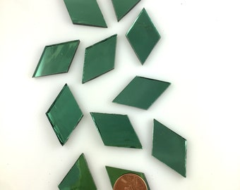 12 Light Green Mirror Tile Diamonds, Cut From Spectrum Tree Foil Silvercoat Mirrored Stained Glass