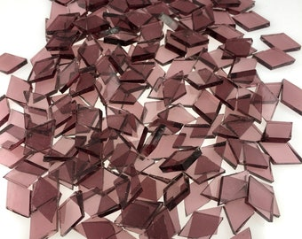 """50 Pale Purple Tiny Diamonds 7/16"""" X 3/4"""" Cut From Spectrum SP 140.8W Waterglass, Stained Glass Tiles are Perfect for Mosaic Art and Crafts!"""