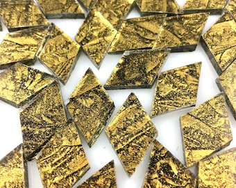 """25 Van Gogh Gold Sparkle Small Diamonds 5/8"""" X 1"""" Cut From Van Gogh Sparkle Glass, Stained Glass Tiles are Perfect for Mosaic Art and Crafts"""