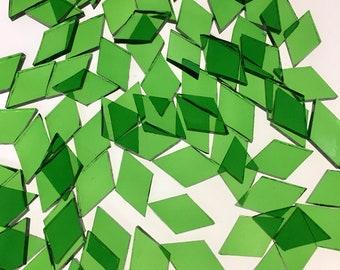 25 Light Green Small Diamond Mosaic Tiles Spectrum #121W Transparent Waterglass Stained Glass Tiles