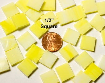 """50 1/2"""" Square Wispy Daffodil Yellow Mosaic Tiles Hand Cut From Original Spectrum Stained Glass, Perfect for Mosaic Art and Craft Projects!"""