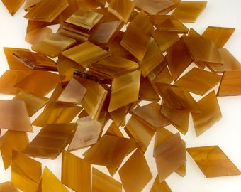 25 Light Amber and White Wispy Mosaic Tile Small Diamonds Hand Cut From Spectrum 319.1S Stained Glass, Stained Glass Tiles for Mosaic Art