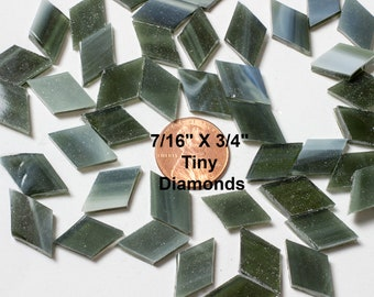 50 Olive Green Mosaic Tile Tiny Diamonds, Original Spectrum Stained Glass, Stained Glass Tiles are Perfect for Mosaic Art & Craft Projects