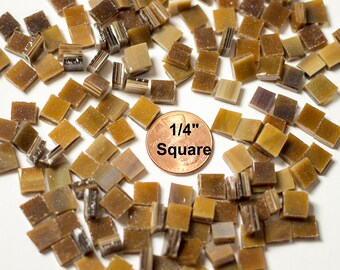 """150 1/4"""" Medium Brown Mosaic Tiles """"Mahogany"""" Hand Cut From Original Spectrum Stained Glass"""