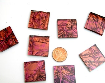 Red Copper Mosaic Tile Hand Cut From VG780 Van Gogh Glass, Square or Rectangle, Perfect Stained Glass Tiles for Mosaic Art & Crafts