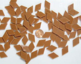 25 Terra Cotta Mosaic Tile Diamonds Cut From Spectrum Fusible Stained Glass
