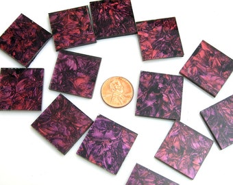 """15 1"""" Van Gogh Purple Red Mosaic Tile Hand Cut From VG470 Van Gogh Glass, Stained Glass Tiles for Mosaic Art & Crafting"""