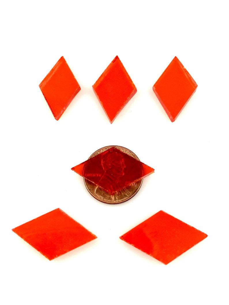 25 Orange Mosaic Tile Small Diamonds Hand Cut From Spectrum image 0