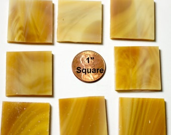 """15 1"""" Light Brown Mosaic Tiles """"Light Oak"""" Hand Cut Original Spectrum Stained Glass, Perfect for Mosaic Art and Crafts!"""