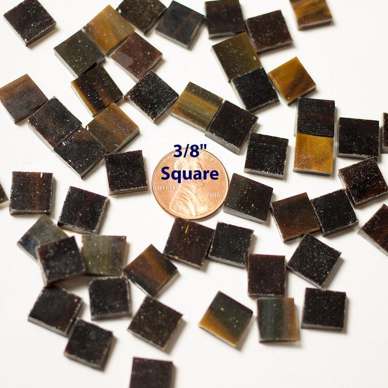 75 3/8 Dark Brown Mosaic Tiles Cut From Dark image 0