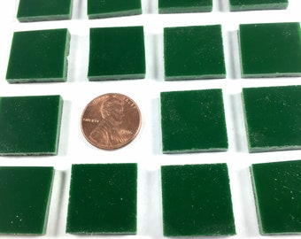 """24 3/4"""" Square Dark Green Mosaic Tiles Cut From Spectrum System 96 Fusible, Stained Glass Tiles are Perfect for Mosaic Art and Craft Project"""