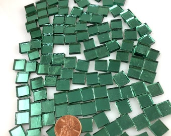 """75 3/8"""" Light Green Mirror Tiles Cut From Spectrum Tree Foil Silvercoat Mirrored Stained Glass"""