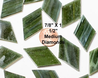 """12 Olive Green Mosaic Tiles, Medium Diamonds 7/8"""" X 1 1/2"""" Original Spectrum Stained Glass, Perfect Glass Tiles for Mosaic Art and Crafts"""