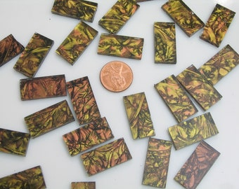"""25 Van Gogh Copper Gold Mosaic Tile Borders 1/2"""" X 1"""" Cut From VG890 Van Gogh Glass, Stained Glass Tiles for Mosaic Art & Crafting"""