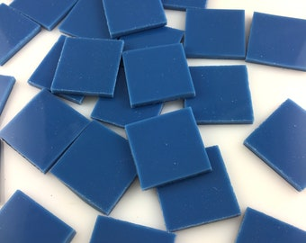 """15 1"""" Mariner Blue Mosaic Tiles Hand Cut From Spectrum System 96 Fusible, Stained Glass Tiles are Perfect for Mosaic Art, Fusing, Crafts"""