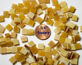 """100 1/4"""" Square Light Brown Wispy Mosaic Tiles """"Light Oak"""" Tiles Cut From Original Spectrum Stained Glass, Perfect for Mosaic Art and Crafts"""