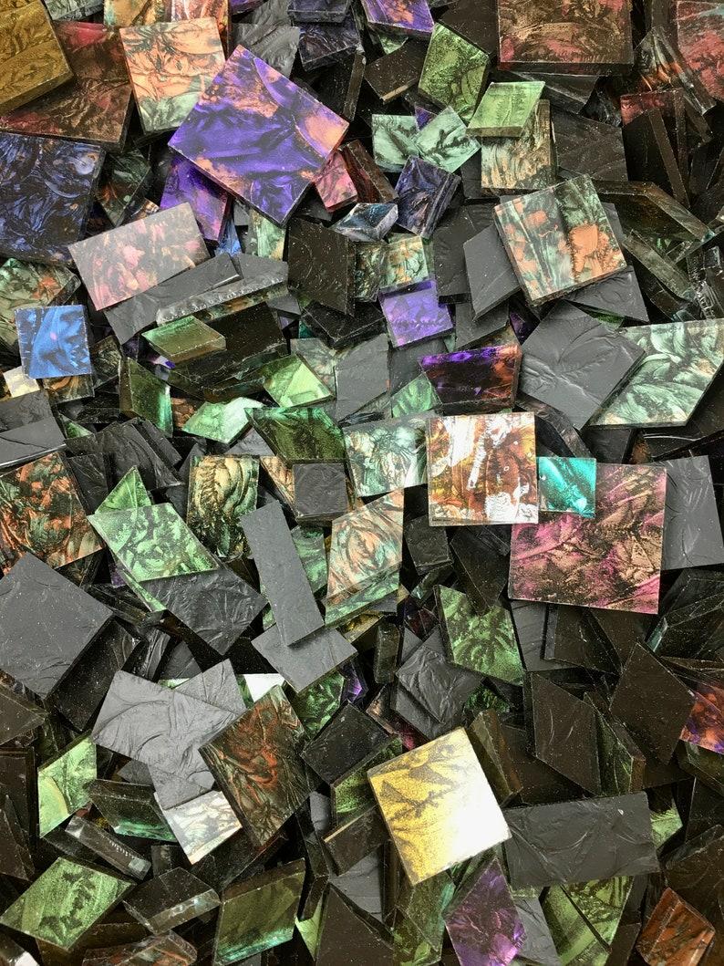 1/4 Pound of Scrap Van Gogh Glass Mosaic Tile Random Sizes image 1