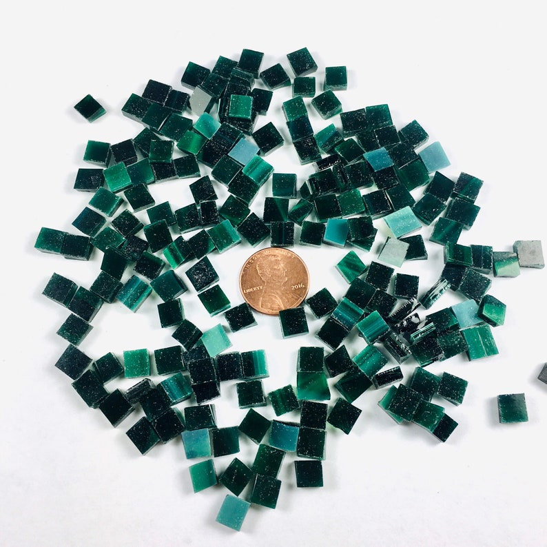 200 1/4 Square Hunter Green Mosaic Tiles Hand Cut From image 0