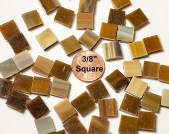 """75 Medium Brown Mosaic Tile, 3/8"""" Square, """"Mahogany"""" Spectrum #317-6S, Stained Glass Tiles are Perfect for Mosaic Art and Crafts!"""