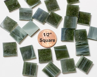 """50 1/2"""" Olive Green Mosaic Tiles Hand Cut From Original Spectrum Stained Glass, Perfect for Mosaic Art and Craft Projects!"""