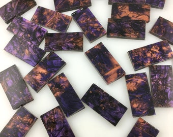 """25 Van Gogh Violet Copper Mosaic Tile Borders 1/2"""" X 1"""", Hand Cut From VG580 Van Gogh Glass, Perfect for Mosaic Art & Crafting"""