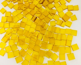 """75 3/8"""" Square Yellow Mosaic Tiles Cut From Original Spectrum Waterglass Stained Glass, Perfect for Mosaic Art and Craft Projects"""