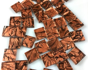 """50 1/2"""" Van Gogh Copper Mosaic Tiles Cut From VG800 Van Gogh Glass, Stained Glass Tiles are Perfect for Mosaic Art and Craft Projects"""