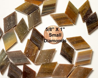 """25 Medium Brown Mosaic Tile Small Diamonds Cut From Original Spectrum """"Mahogany"""", Stained Glass Tiles are Perfect for Mosaic Art & Crafts!"""