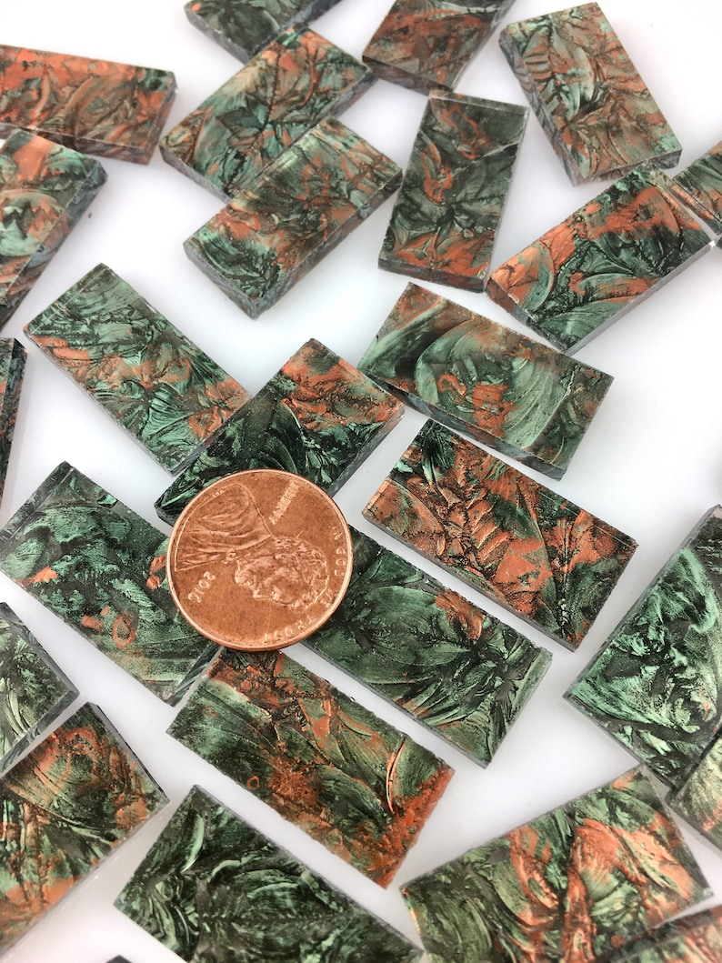 25 Van Gogh Green Copper Mosaic Tile Borders 1/2 X image 0