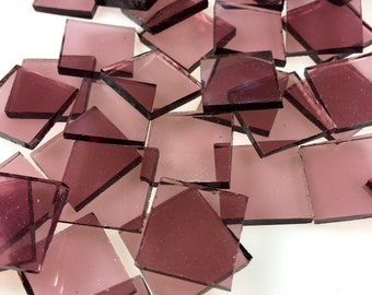 """25 3/4"""" Pale Purple Mosaic Tiles, Cut From Original Spectrum SP 140.8W Waterglass, Stained Glass Tiles for Mosaic Art and Craft Projects"""