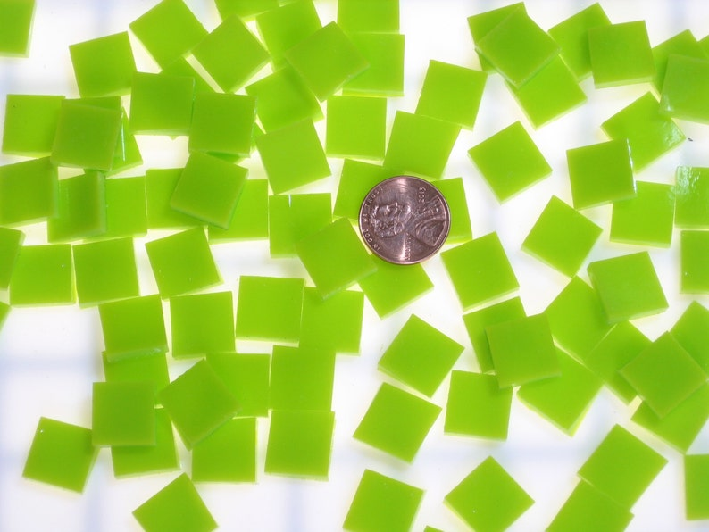Lemongrass Green Opal Mosaic Tile Hand Cut Spectrum System 96 Fusible Stained Glass Choose From 3 Shapes /& 12 Sizes Perfect for Mosaic Art