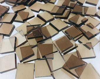 """50 1/2"""" Bronze Mosaic Tiles Cut From 518-1W Spectrum Waterglass, Stained Glass Tiles are Perfect for Mosaic Art and Craft Projects!"""