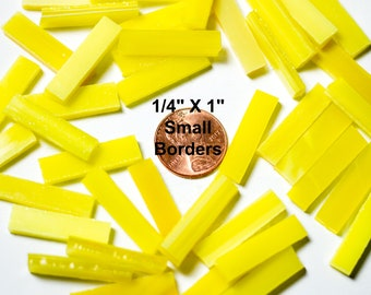 """50 Bright Yellow Mosaic Tile Borders 1/4"""" X 1"""" Cut From Original Spectrum, Stained Glass Tiles are Perfect for Mosaic Art and Craft Projects"""