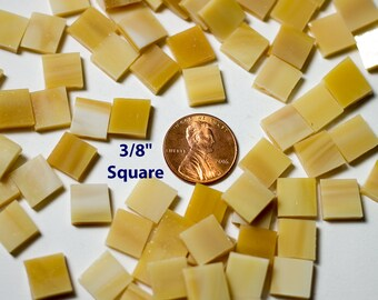 """75 3/8"""" Light Brown Mosaic Tiles """"Light Oak"""" Hand Cut Original Spectrum Stained Glass, Perfect for Mosaic Art and Crafts!"""